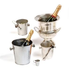 Baldes para hielo y champagne